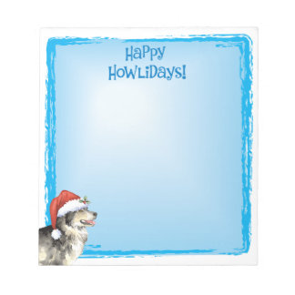 Happy Howlidays Malemute Notepad