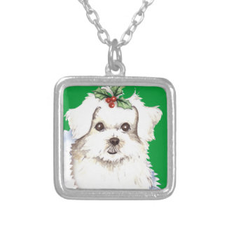 Happy Howlidays Maltese Silver Plated Necklace