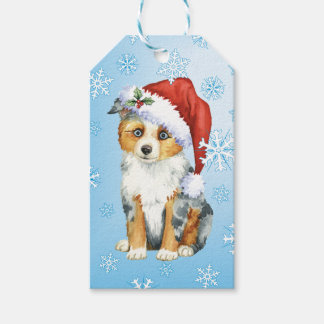Happy Howlidays Mini American Shepherd Gift Tags