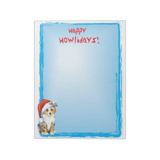Happy Howlidays Mini American Shepherd Notepad