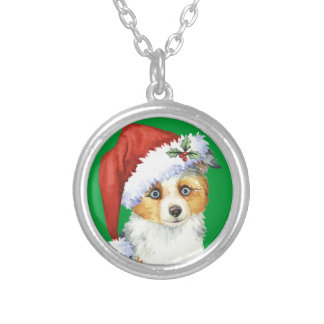 Happy Howlidays Mini American Shepherd Silver Plated Necklace