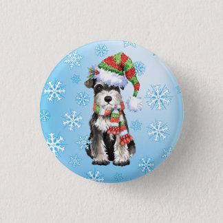 Happy Howlidays Miniature Schnauzer 3 Cm Round Badge