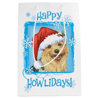 Happy Howlidays Norfolk Terrier Medium Gift Bag