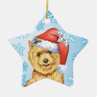 Happy Howlidays Norwich Terrier Ceramic Star Decoration