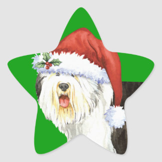 Happy Howlidays Old English Sheepdog Star Sticker