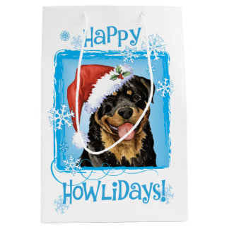 Happy Howlidays Rottweiler Medium Gift Bag