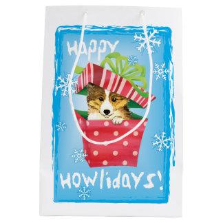 Happy Howlidays Sheltie Medium Gift Bag