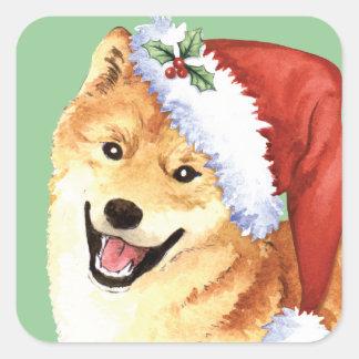 Happy Howlidays Shiba Inu Square Sticker