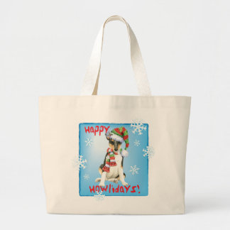 Happy Howlidays Smooth Collie Large Tote Bag