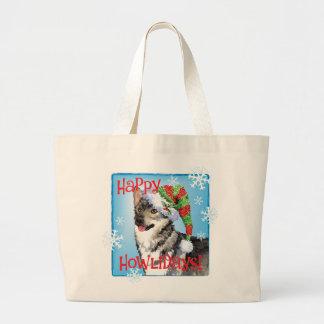 Happy Howlidays Swedish Vallhund Large Tote Bag