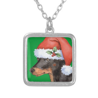 Happy Howlidays Toy Manchester Terrier Silver Plated Necklace