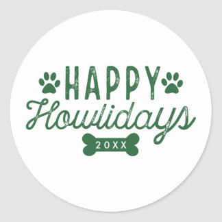 Happy Howlidays | White and Green Holiday Round Sticker