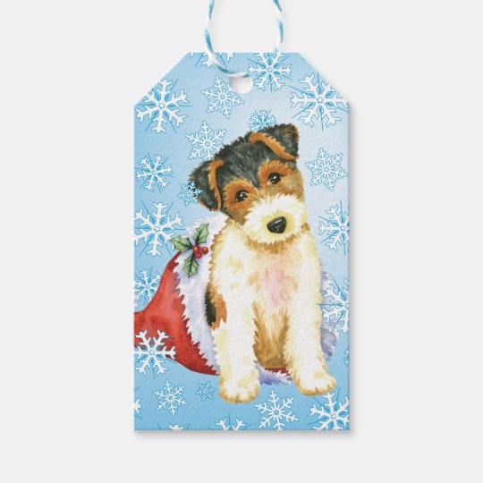 Happy Howlidays Wire Fox Terrier Gift Tags