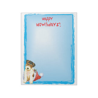 Happy Howlidays Wire Fox Terrier Notepad