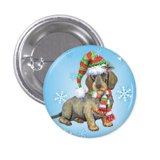 Happy Howlidays Wirehaired Dachshund 3 Cm Round Badge