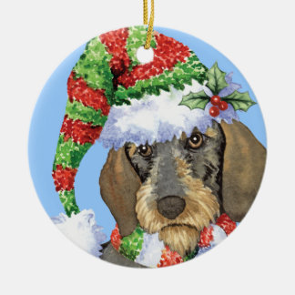 Happy Howlidays Wirehaired Dachshund Christmas Ornament