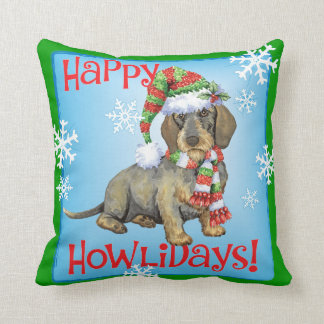 Happy Howlidays Wirehaired Dachshund Cushion