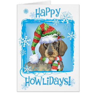 Happy Howlidays Wirehaired Dachshund Greeting Card