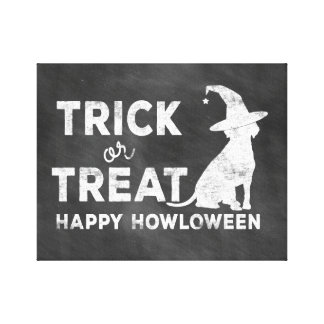 """""""Happy Howloween"""" Chalkboard Style Wrapped Canvas Canvas Print"""