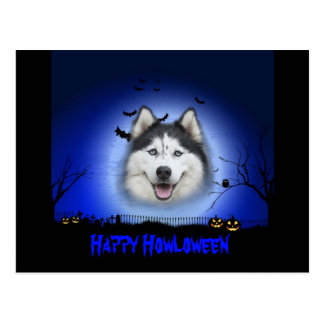 Happy Howloween Husky Postcard