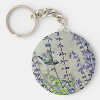 Happy Hummingbird II Basic Round Button Key Ring