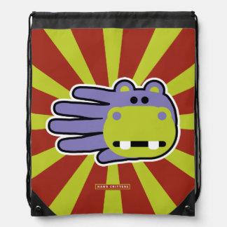 Happy Hungry Purple Hippo Drawstring Bags