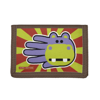 Happy Hungry Purple Hippo Trifold Wallet