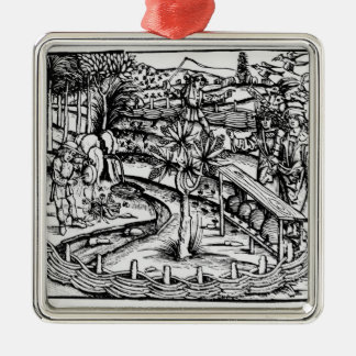 Happy husbandsmen tending bees, illustration from christmas ornament