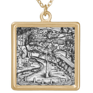 Happy husbandsmen tending bees, illustration from gold plated necklace