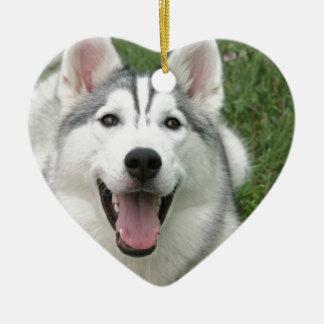 Happy Husky Christmas Ornament