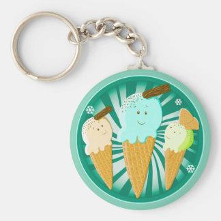Happy Ice Cream Cones Basic Round Button Key Ring