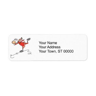 happy ice skating cow return address label