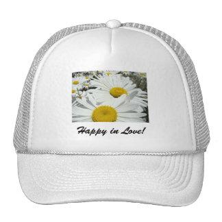 Happy in Love hats White Daisy Flowers