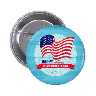 Happy Independance Day American Flag Illustration 6 Cm Round Badge