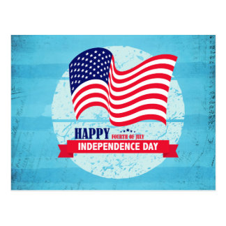 Happy Independance Day American Flag Illustration Postcard
