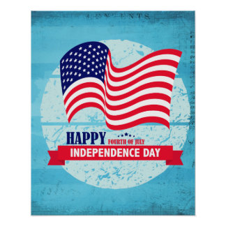 Happy Independance Day American Flag Illustration Poster