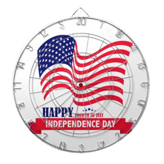 Happy Independence  Day 4 th July American Flag Dartboard