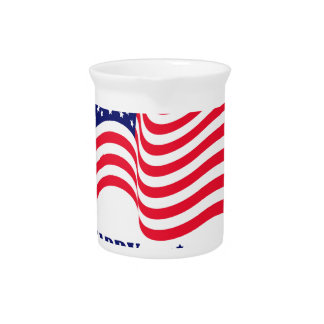 Happy Independence  Day 4 th July American Flag Pitcher