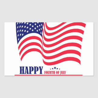 Happy Independence  Day 4 th July American Flag Rectangular Sticker