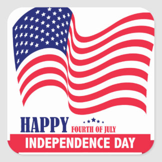Happy Independence  Day 4 th July American Flag Square Sticker