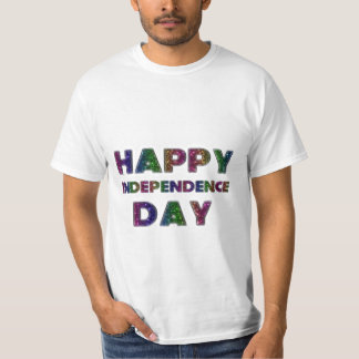 Happy Independence Day Rainbow Glitter Typography T-Shirt