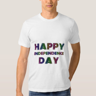 Happy Independence Day Rainbow Glitter Typography T Shirts