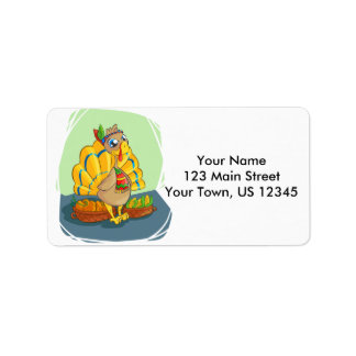 Happy Indian Turkey ready for thanksgiving Address Label