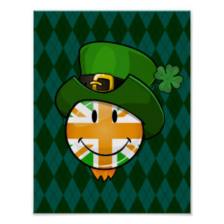 Happy irish Union Jack Flag in a Leprechaun Hat Poster
