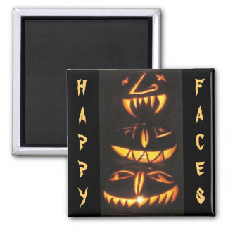 Happy Jack o'Lantern Faces Fridge Magnets