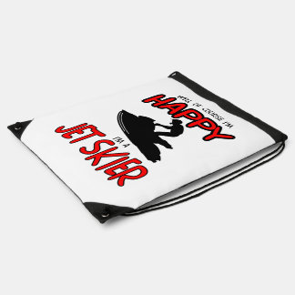 HAPPY JET SKIER (black) Drawstring Bag