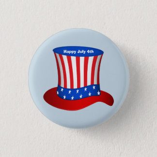 Happy July 4th American flag hat 3 Cm Round Badge