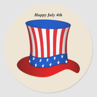 Happy July 4th American flag hat Classic Round Sticker