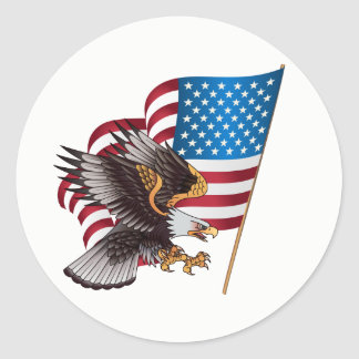 Happy July 4th American Flag with Eagle Classic Round Sticker