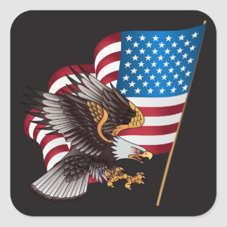 Happy July 4th American Flag with Eagle Square Sticker